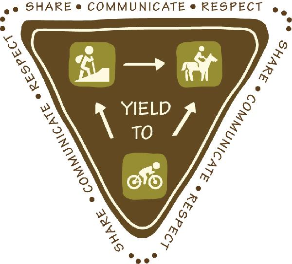 Yield to hikers, horse riders, and cyclists