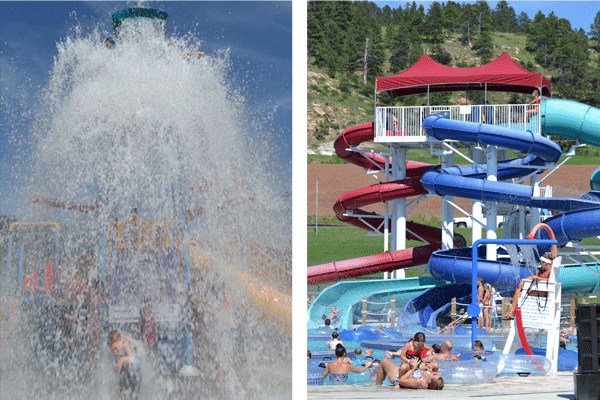 Dump bucket and water slides at Spearfish Water Park